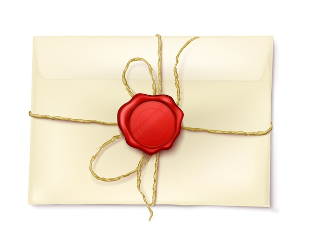 Envelope de papel com selo de cera vermelha