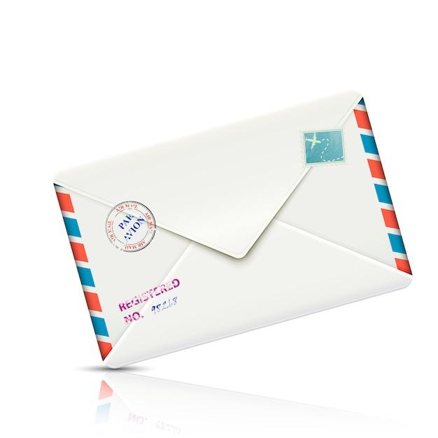 Envelope de papel realista correio aéreo à moda antiga