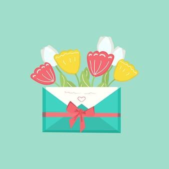 Envelope de presente de feliz dia das mães com flores conceito de saudação festiva