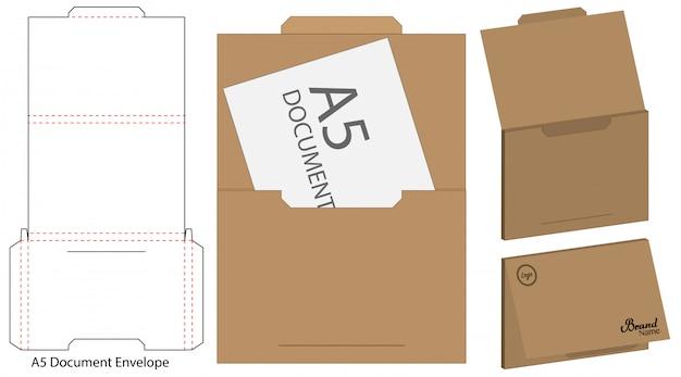 Envelope die cut mock up modelo
