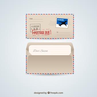 Envelope do correio aéreo retro