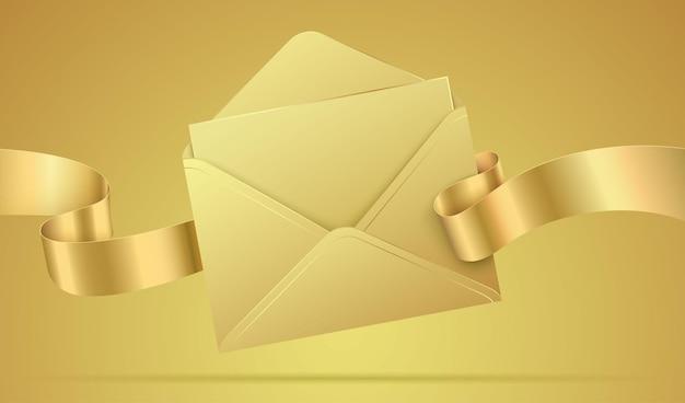 Envelope dourado de luxo com a letra em branco e uma fita ondulante