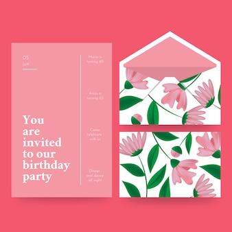 Envelope e cartão de aniversário elegante