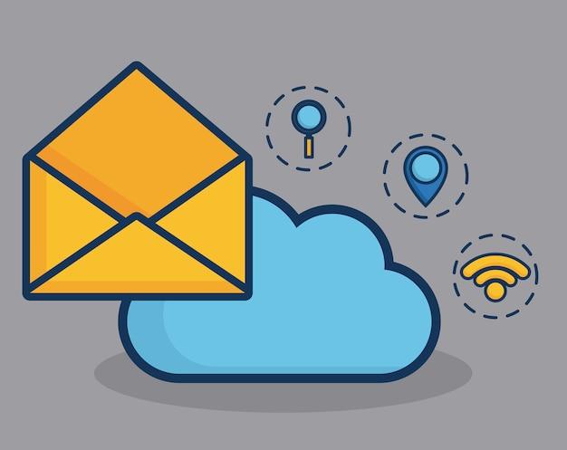 Envelope e nuvem com ícones relacionados com marketing digital