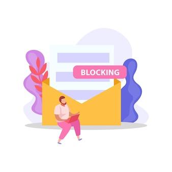 Envelope e personagem de bloqueio do usuário de computador