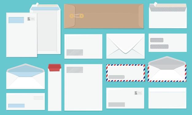 Envelope em branco. coleção de envelopes de papel de escritório