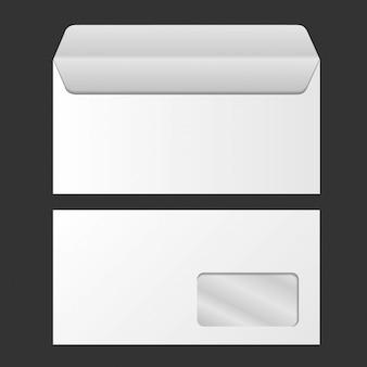 Envelope em branco do vetor com janela, frente e vista traseira. identidade corporativa.