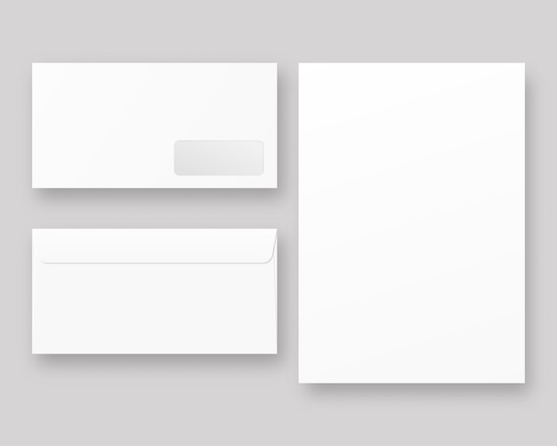 Envelope fechado realista em branco frente e vista traseira. envelopes com papel branco. . template. ilustração realista.
