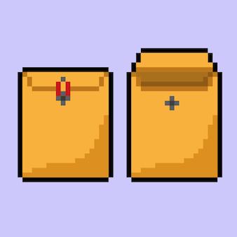 Envelope marrom com estilo pixel art