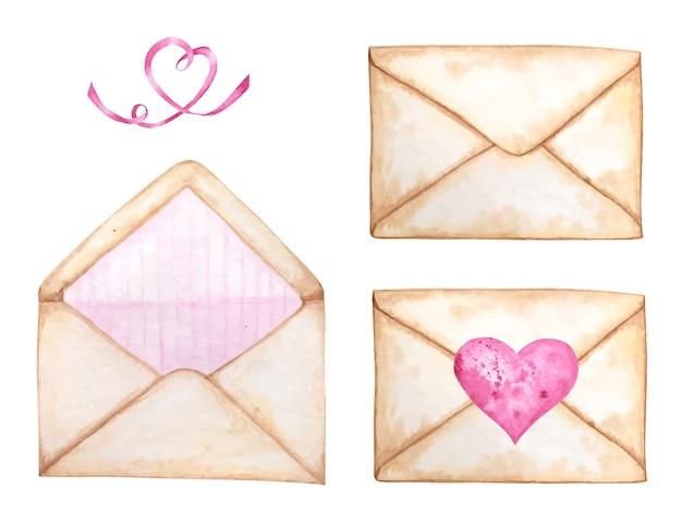 Envelope postal aquarela definido para dia dos namorados, cartão de felicitações. listra rosa dentro da decoração, lindo estilo retro romântico. aquarela desenhada de mão.