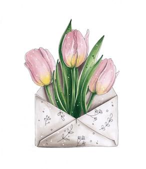 Envelope postal bege com padrões e tulipas cor de rosa dentro