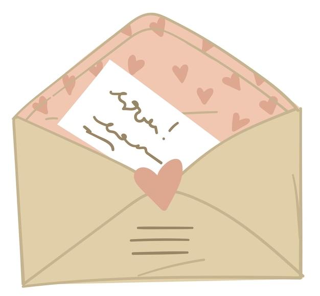 Envelope postal com carta de amor, dia dos namorados