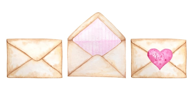 Envelope postal em aquarela definido para o dia dos namorados