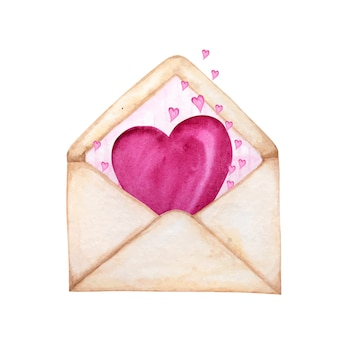 Envelope postal para o dia dos namorados com corações voando para longe. conceito de cartão de saudação. listra rosa dentro, lindo estilo retro romântico. mão-extraídas ilustração em aquarela.