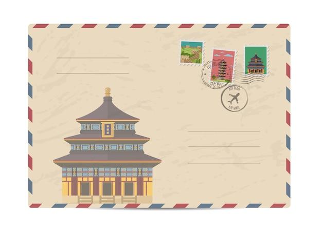Envelope postal vintage com selos da china