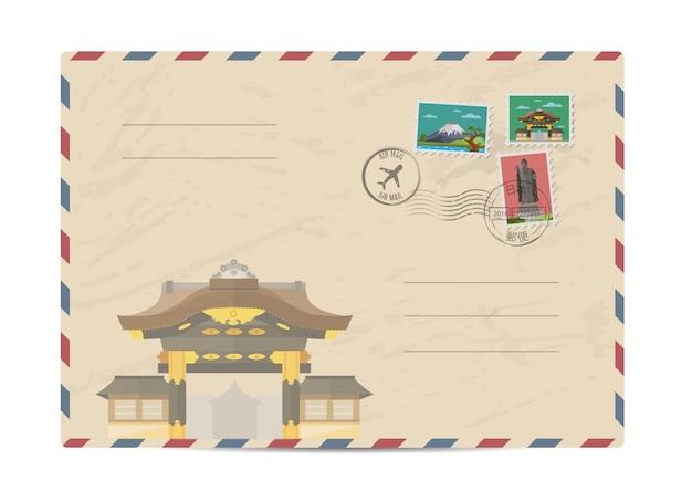 Envelope postal vintage com selos do japão