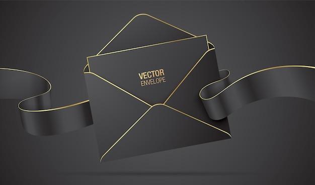 Envelope preto com a carta em branco e uma fita ondulante