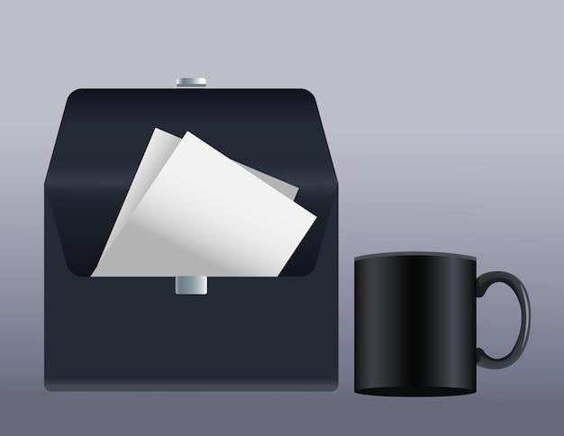 Envelope preto, correio e ícones de maquete de caneca, ilustração vetorial design