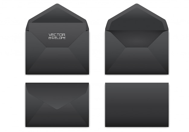 Envelope preto realístico ajustado no fundo branco.
