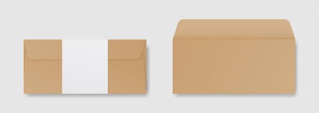 Envelope realista em branco na frente e traseira ver maquete. modelo de design. ilustração realista.
