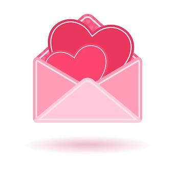 Envelope rosa com corações