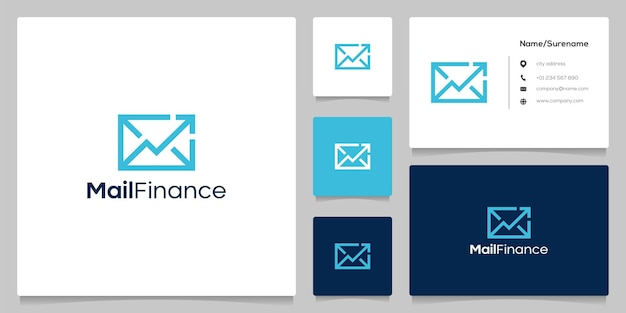 Envelope seta design de logotipo de linha de entrega de dinheiro financeiro com cartão de visita