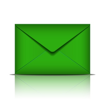Envelope verde sobre fundo branco. ilustração