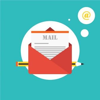 Envelope vermelho com um e-mail