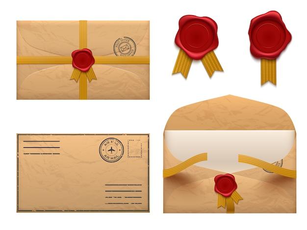 Envelope vintage carta de envelopes retrô com selo de cera carimbo, conjunto de entrega de correio antigo