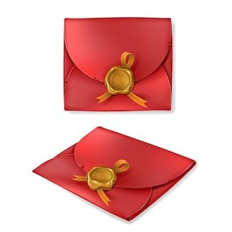 Envelope vintage vermelho com selo dourado de cera em estilo realista