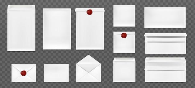 Envelopes brancos com lacre de cera vermelho
