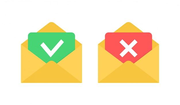 Envelopes com a marca de seleção e o ícone de cruz. carta rejeitada e aprovada.