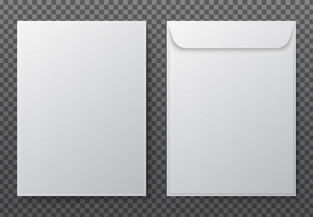 Envelopes de carta em branco branco de papel para documento vertical.