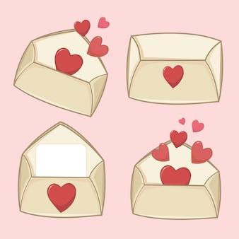 Envelopes de dia dos namorados vecto com corações vermelhos