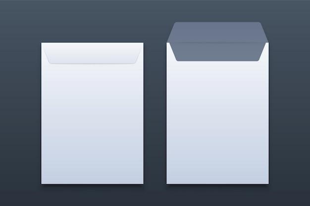Envelopes de papel em branco branco