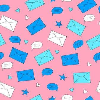 Envelopes e balões de fala em um fundo rosa. padrão sem emenda em estilo desenhado à mão. conceito de correspondência, chat e comunicação