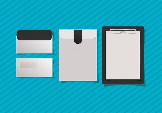 Envelopes e caderno de maquete