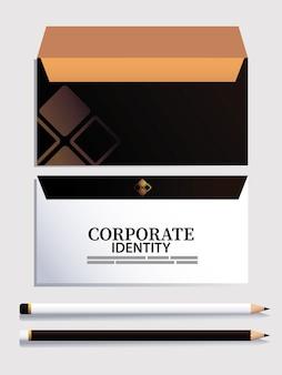 Envelopes e lápis com elementos de design de ilustração de marca