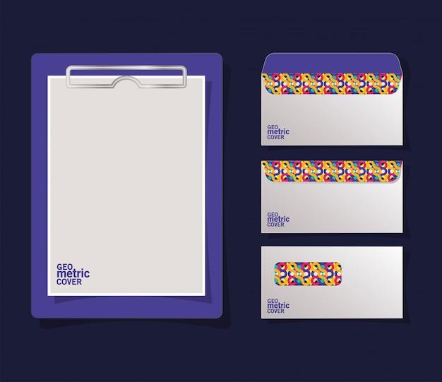 Envelopes e prancheta de capa geométrica