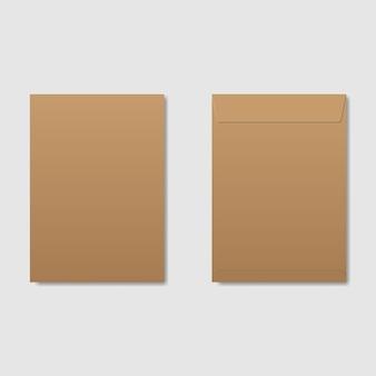 Envelopes em branco de vetor na frente e vista traseira