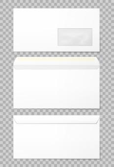 Envelopes em branco definidos em 3 visualizações