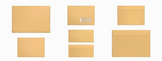 Envelopes kraft em branco conjunto de modelo de capas marrons
