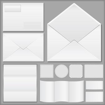 Envelopes, papel e selos postais
