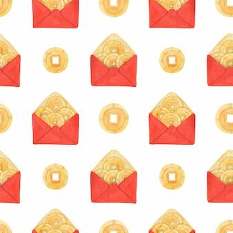 Envelopes vermelhos do ano novo chinês e dinheiro da sorte