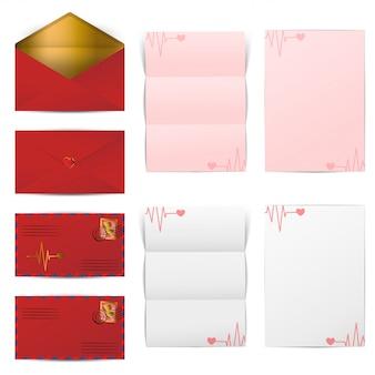 Envelopes vermelhos e modelo de papéis em branco carta definida para o dia dos namorados, ilustração vetorial
