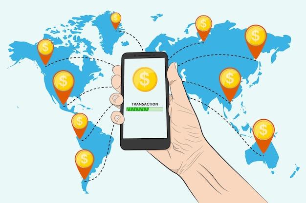 Enviando dinheiro com um smartphone. enviando dinheiro para outros países