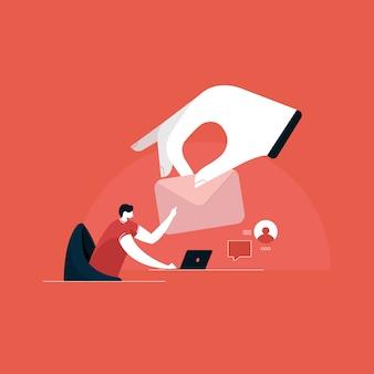 Enviando e recebendo ilustração de e-mail, marketing por e-mail, conceitos de publicidade na internet Vetor Premium