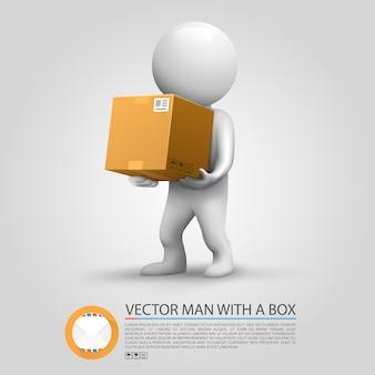 Enviando um pacote. homem segurando um pacote. ilustração vetorial