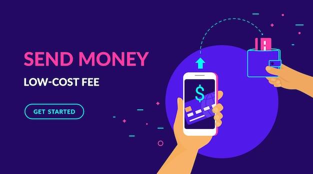 Enviar dinheiro com taxa de baixo custo ilustração vetorial plana de néon para interface do usuário web e design para celular com texto
