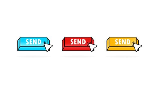 Enviar ícone do botão definido com o cursor ilustração